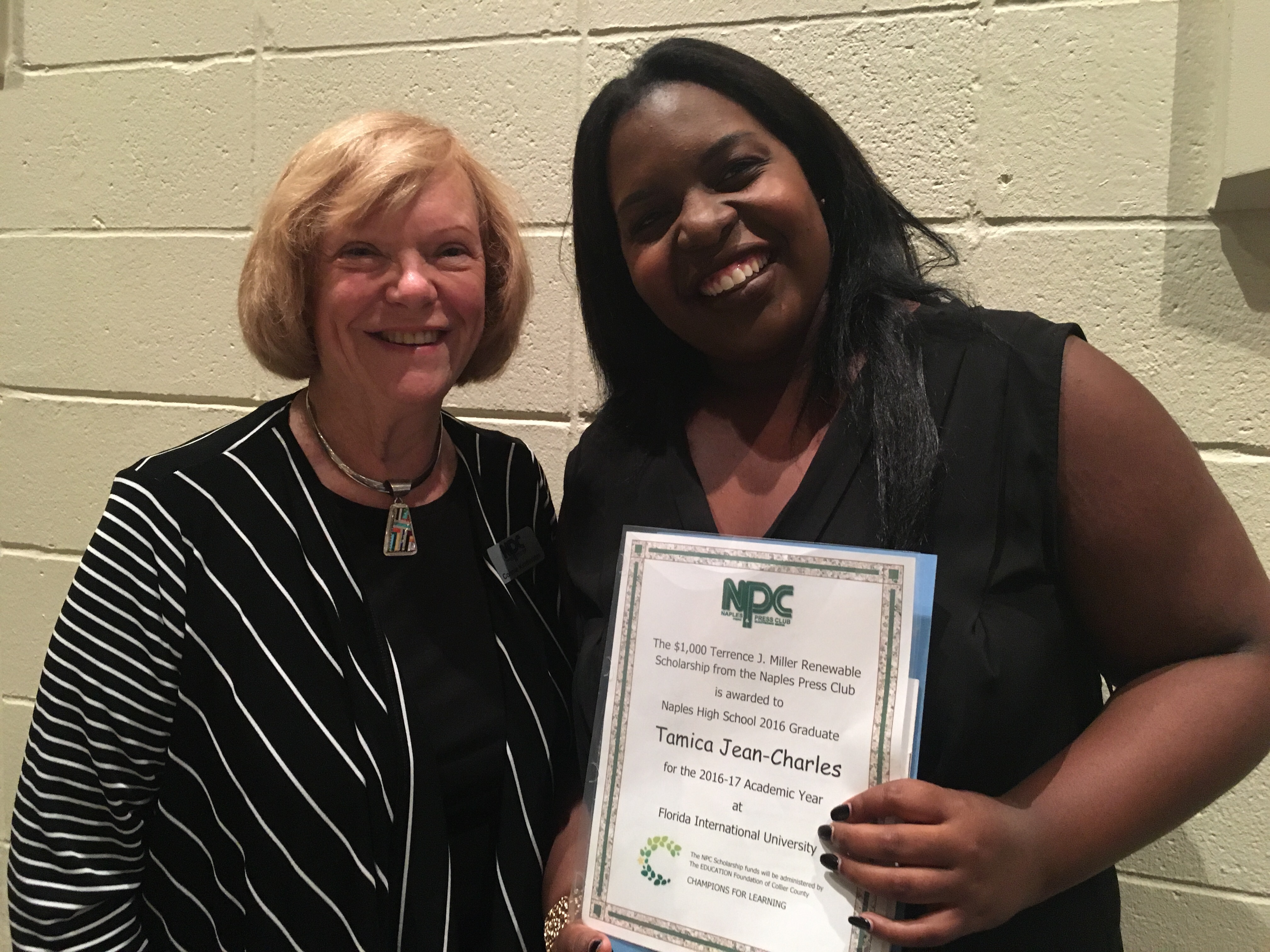Connie Kindsvater and Tamica Jean-Charles at Naples High School